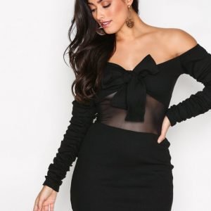 Missguided Londunn Tie Front Dress Kotelomekko Black