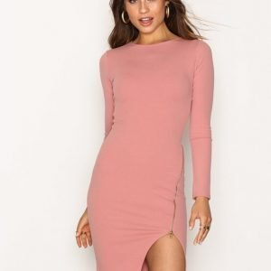 Missguided Long Sleeve Zip Dress Kotelomekko Rose