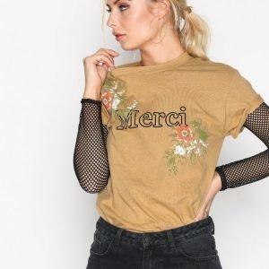 Missguided Merci Floral T-Shirt T-Paita Mustard