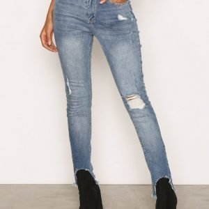 Missguided Mid Rise Skinny Jeans Farkut Blue