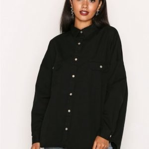 Missguided Oversized Military Shirt Kauluspaita Black
