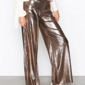 Missguided Plated Wide Leg Trousers Housut Gold