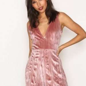 Missguided Pleated Velour Plunge Playsuit Rose