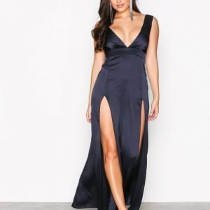 Missguided Plunge Double Split Maxi Dress Maksimekko Navy