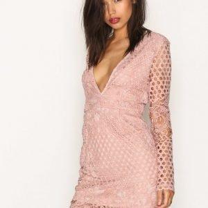 Missguided Plunge Lace L / S Dress Kotelomekko Mauve
