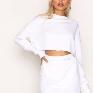 Missguided Raw Edge Sweat Skirt Minihame White