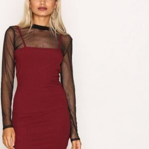 Missguided Ribbed Bodycon Dress Kotelomekko Burgundy