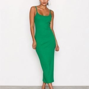 Missguided Ribbed Strappy Midi Dress Kotelomekko Green