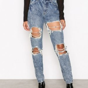 Missguided Riot High Rise Mom Jeans Straight Farkut Blue