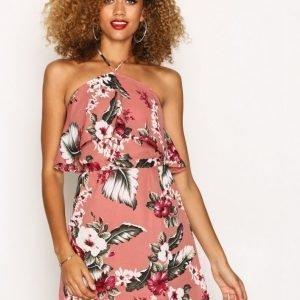 Missguided Rose Pink Floral Print Halterneck Mini Dress Loose Fit Mekko Pink