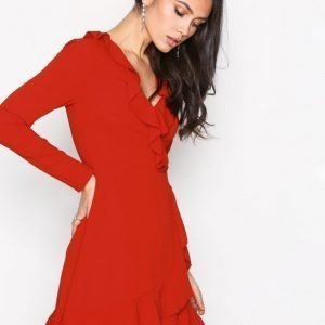 Missguided Ruffle Tea Dress Kotelomekko Red