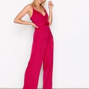 Missguided Satin Strappy Jumpsuit Pink