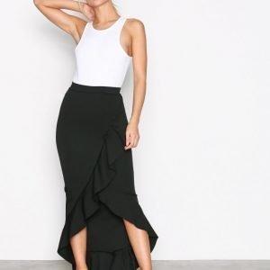 Missguided Scuba Ruffle Maxi Skirt Pitkä Hame Black