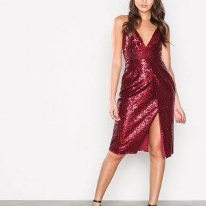 Missguided Sequin Strappy Midi Dress Paljettimekko Red