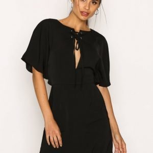 Missguided Silky Lace Up Mini Dress Loose Fit Mekko Black