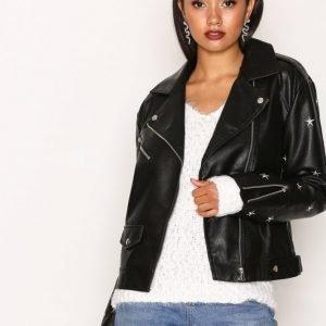 Missguided Star Embroidered Jacket Nahkatakki Black