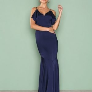 Missguided Strappy Frill Detail Maxi Dress Maksimekko Navy