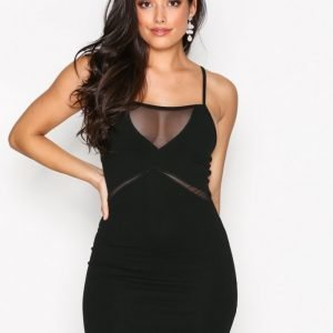 Missguided Strappy Mesh Bodycon Dress Kotelomekko Black