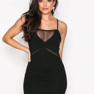 Missguided Strappy Mesh Bodycon Dress Kotelomekko Black