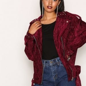 Missguided Studded Velvet Biker Jack Nahkatakki Purple