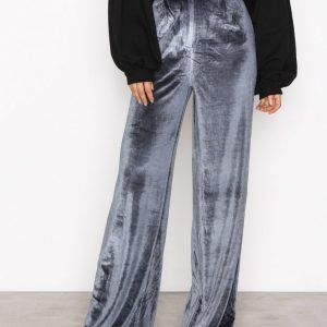 Missguided Velvet Wide Leg Trousers Housut Blue