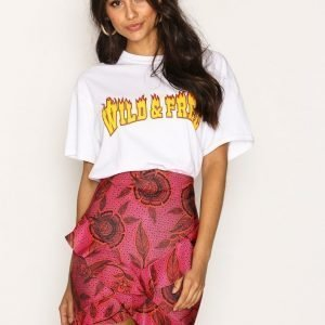 Missguided Wrap Frill Skirt Minihame Hot Pink