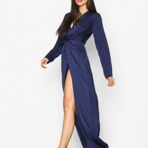 Missguided Wrap Front Maxi Dress Maksimekko Navy