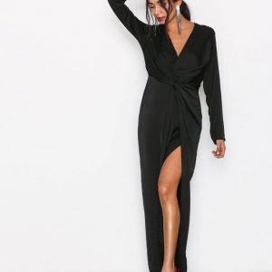 Missguided Wrap Front Shirt Dress Maksimekko Black