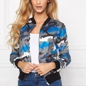 Mixed from Italy Camo Zip Front Bomber Blue