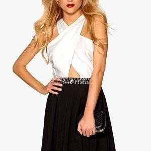 Mixed from Italy Jewel Waist Wrap Front Skater Dress Kerma/Musta