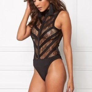 Mixed from Italy Lace Highneck Bodysuit Black