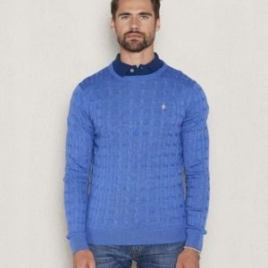 Morris Merino Cable O neck 57 Blue