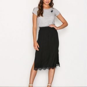 Moss Copenhagen Donny Polysilk Skirt Midihame Black Lace