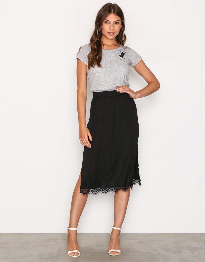 Moss Copenhagen Donny Polysilk Skirt Midihame Black Lace