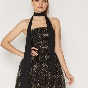 Motel Sisley Prom Dress Skater Mekko Gold Glitter