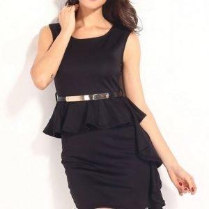 Musta peplum-mekko laskoksella + vyö