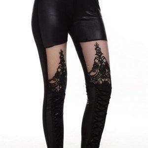 Mustat pitsikoristeiset wetlook leggingsit