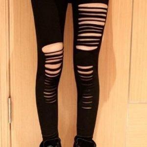 Mustat revityt leggingsit
