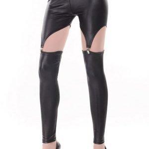 Mustat wetlook garter leggingsit
