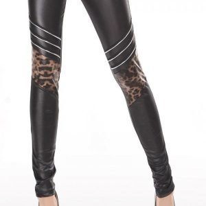 Mustat wetlook leggingsit leokuosilla