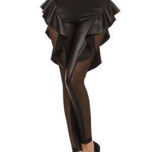 Mustat wetlook leggingsit röyhelöillä