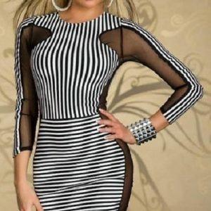 Mustavalkoinen raidallinen mesh-mekko