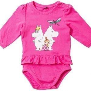 Muumi Pitkähihainen röyhelöbody Vauvan Pinkki
