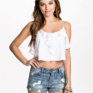 NLY Blush Frill Cropped Top Svart
