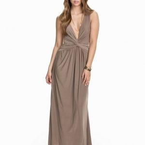 NLY Eve Deep Jersey Knot Dress Beige