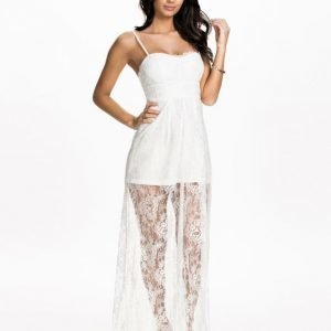 NLY Eve Long Sheer Lace Dress Korall