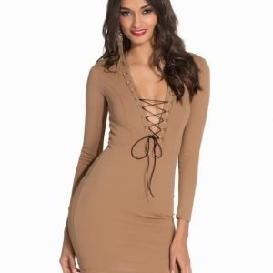 NLY One Lace Up Crepe Dress Beige