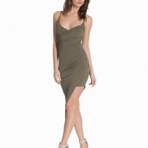 NLY One Ruched Wrap Over Dress Khaki