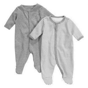 Name it Pyjama 2-Pakkaus Mel. harmaa Raidallinen