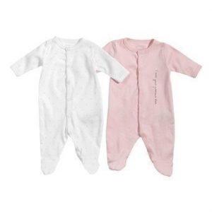 Name it Pyjama 2-Pakkaus Roosa Valkoinen Kuvioitu
